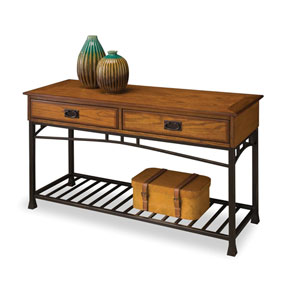 Modern Craftsman Oak Console Sofa Table