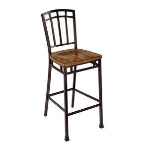 Modern Craftsman Oak and Brown 46-Inch Bistro Stool