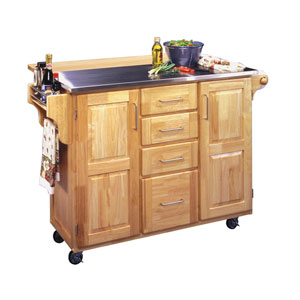 Stainless Steel Top Kitchen Cart with Wood Breakfast Bar