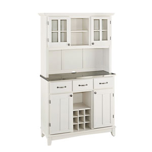 White Buffet with Two Door Hutch and Stainless Top