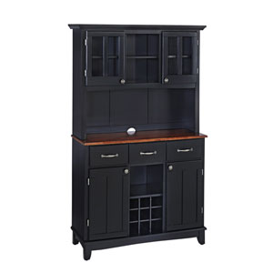 Black Buffet with Two Door Hutch and Cherry Wood Top