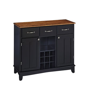 Black Buffet with Cottage Oak Wood Top