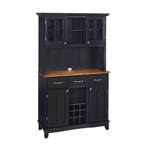 Black Buffet with Two Door Hutch and Cottage Oak Wood Top