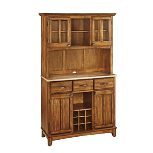 Cottage Oak Buffet with Two Door Hutch and Natural Wood Top