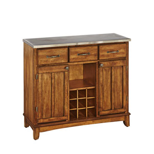 Cottage Oak Buffet with Stainless Top