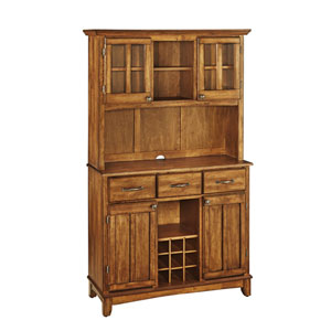 Cottage Oak Buffet with Open Hutch and Cottage Oak Wood Top
