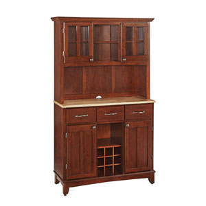 Cherry Buffet with Two Door Hutch and Natural Wood Top