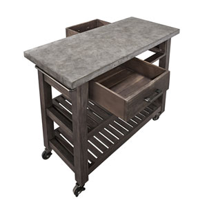 Concrete Chic Brown and Gray Kitchen Cart