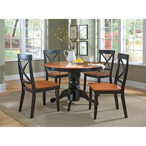 Black Five-Piece Round Pedestal Dining Set