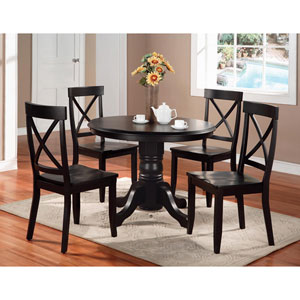 Five-Piece Dining Set Black Finish