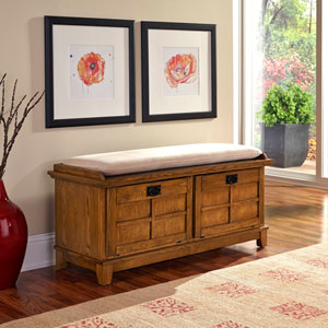 Arts and Crafts Cottage Oak Upholstered Storage Bench