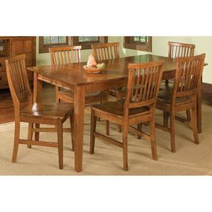 Arts and Crafts Seven-Piece Rectangular Dining Set Cottage Oak Finish