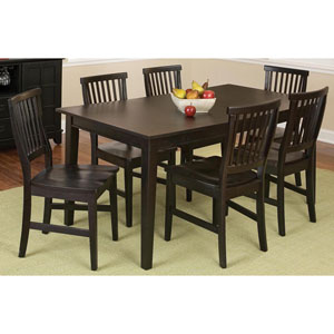 Arts and Crafts Seven-Piece Rectangular Dining Set Black Finish