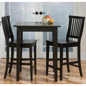 Arts and Crafts Three-Piece Bistro Set Black Finish