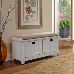 Arts and Crafts White Upholstered Storage Bench