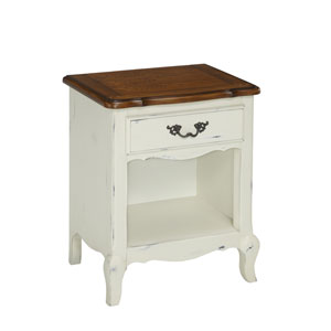 The French Countryside Oak and Rubbed White Night Stand