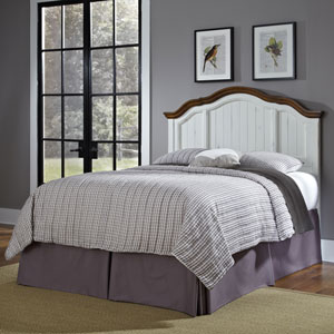 The French Countryside Oak and Rubbed White Full or Queen Headboard
