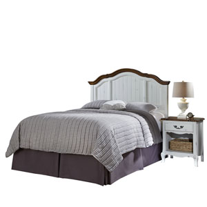 The French Countryside Oak and White Full or Queen Headboard and Night Stand