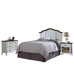 The French Countryside Oak and White Full or Queen Headboard, Night Stand and Chest