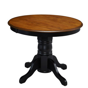 The French Countryside Oak and Rubbed Black 30-Inch Pedestal Table