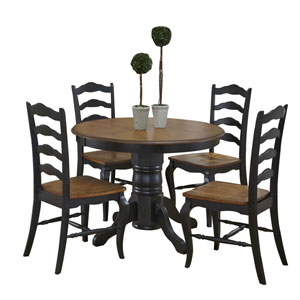 The French Countryside Oak and Rubbed Black 5-Piece Dining Set