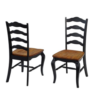 The French Countryside Oak and Rubbed Black Dining Chair, Set of 2