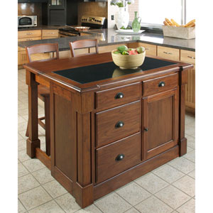 Aspen Rustic Cherry Granite Top Kitchen Island w/ Hidden Drop Leaf Support