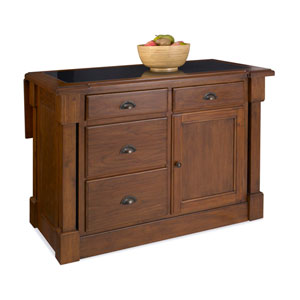 Aspen Rustic Cherry Granite Top Kitchen Island w/ Hidden Drop Leaf Support and Two Bar Stools