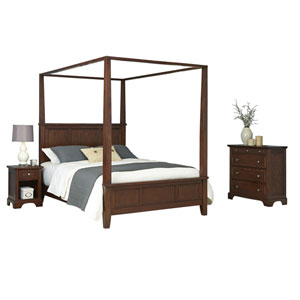 Chesapeake Cherry King Canopy Bed, Night Stand and Chest