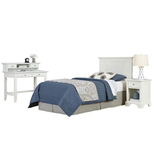 Naples White Twin Headboard, Night Stand, and Student Desk with Hutch