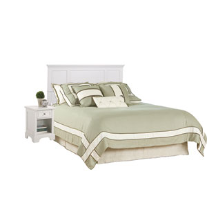 Naples White Queen Headboard and Night Stand
