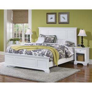 Naples White Queen Bed and Night Stand