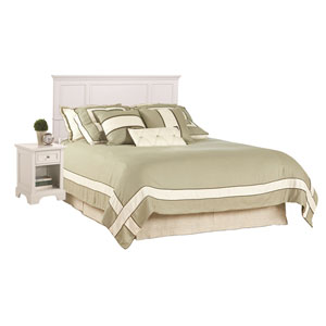 Naples White 52-Inch King Headboard and Night Stand