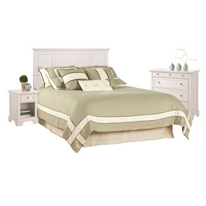 Naples White 52-Inch King Headboard, Night Stand and Chest