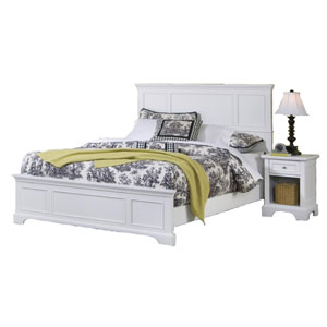Naples White 52-Inch King Bed and Night Stand