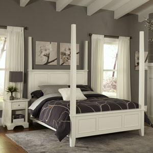 Naples White King Poster Bed and Night Stand