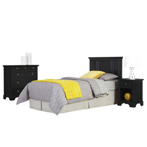 Bedford Black Twin Headboard, Night Stand, and Chest