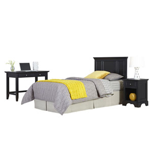 Bedford Black Twin Headboard, Night Stand, and Student Desk with Hutch