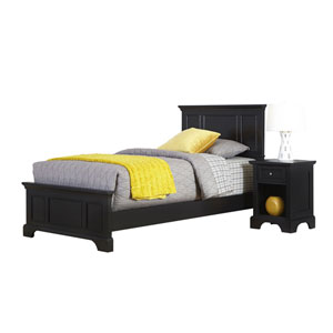 Bedford Black Twin Bed and Night Stand