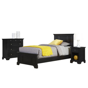 Bedford Black Twin Bed, Night Stand, and Chest