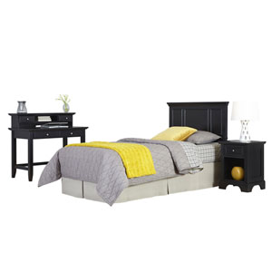 Bedford Black Twin Headboard, Night Stand, and Student Desk
