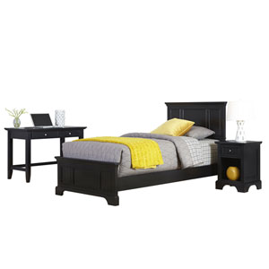 Bedford Black Twin Bed, Night Stand, and Student Desk