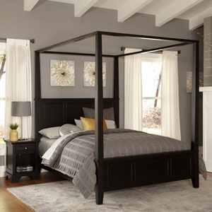 Bedford Black Queen Canopy Bed and Night Stand