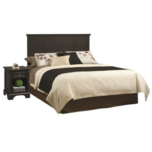 Bedford Black 52-Inch King Headboard and Night Stand