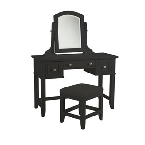 Bedford Black Vanity Table and Bench