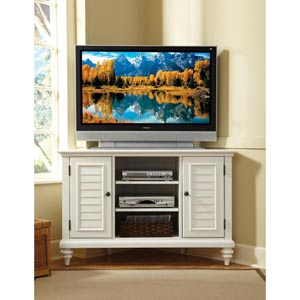 Bermuda Textured Brushed White Corner TV Stand