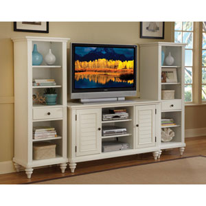 Bermuda Brushed White Three-Piece Entertainment Center
