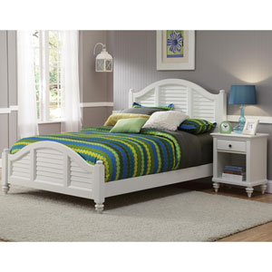 Bermuda Brushed White Queen Bed w/ Night Stand