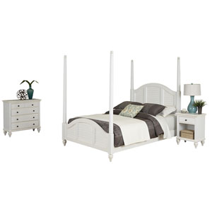 Bermuda Brushed White Queen Poster Bed, Night Stand and Chest