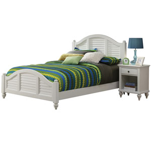 Bermuda Brushed White King Bed and Night Stand